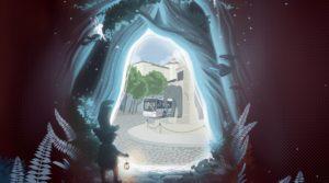 en premier plan un lutin tient une lanterne à travers un portail vortex on aperçoit la fontaine des éléphants et un bus synchrobus en arrière plan le château des ducs de savoie