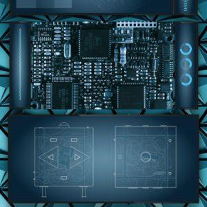 vue d'un circuit électronique sur fond bleu